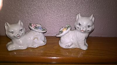 cat pottery cats with hats x2