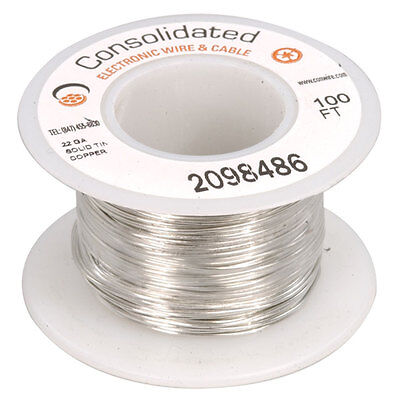 22 AWG  Solid Tinned-Copper Bus Bar Wire 100 Feet