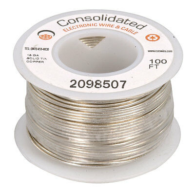 18 AWG  Solid Tinned-Copper Bus Bar Wire 100 Feet