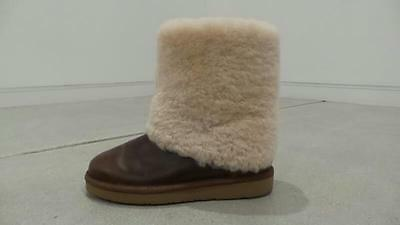 AUTH UGG uggs MAYLIN off white  chestnut brown Shearling Cuff Boots U.S. Size 10