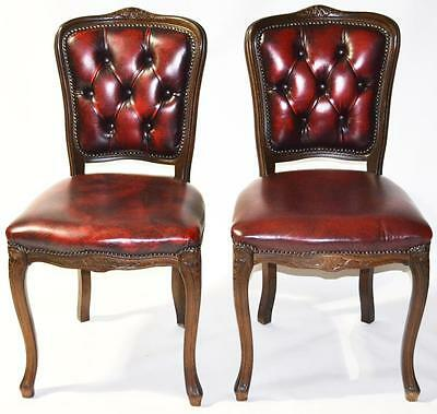 Vintage pair of Carved walnut Queen Anne Oxblood Dining Chairs [PL2762A]