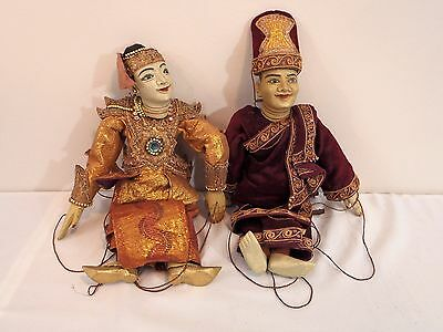 Authentic Old Hand made Java Theater Wayang Golek Wood Puppet Pair