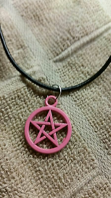 New Pink Pentacle Necklace Pink Pentagram Necklace Wicca Pagan Gothic