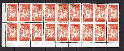 Turkey 1959 11th European & Mediterranean Basketball Block of Eighteen MNH **