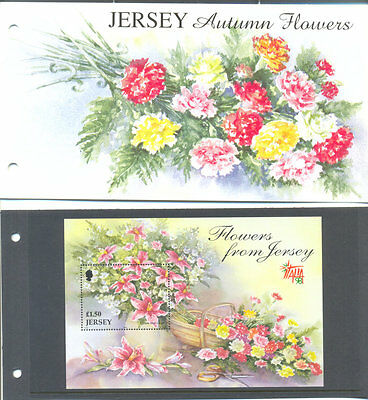 Jersey-Autumn Flowers min sheet and presentation pack mnh-1998