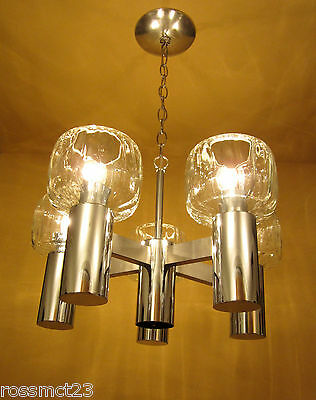 Vintage Lighting 1970s Mod chrome chandelier   Likely Lightolier   glass shades