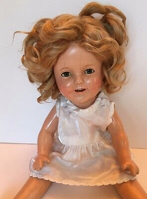 """1934 IDEAL SHIRLEY TEMPLE COMPOSITION DOLL 13"""" All Original Parts"""