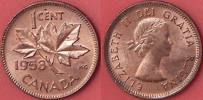 Proof Like 1953 Canada No Shoulder Fold 1 Cent From Mint's Set