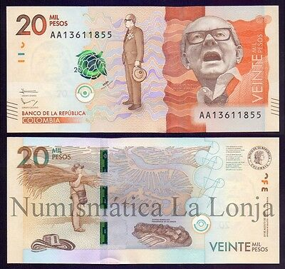 B-D-M Colombia 20000 pesos 2015 (2016) Pick New AA SC UNC