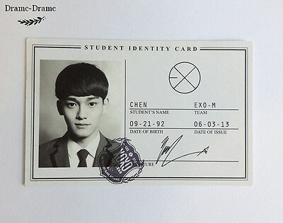 EXO Chen Official Wolf XOXO Photocard 1st Album (student ID card)