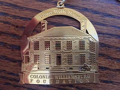 Vtg.  Colonial Williamsburg Foundation George Wythe HouseGold Plated Ornament