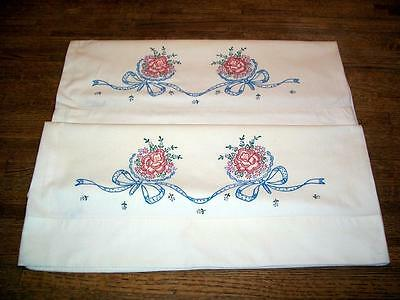 Vintage Pair Pillowcases Floral Bouquet Stamped Pattern!