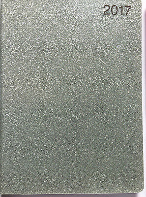 New 2017 Year  Diary/calendar Organiser Planner Glittered Silver Week To View