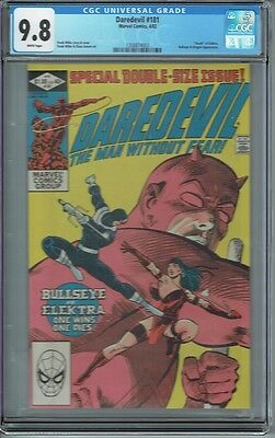 Cgc 9.8 Daredevil #181 White Pages Death Of Elektra Classic Frank Miller