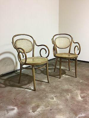 Pair of Rare Bentwood Armchairs With Bergere Back and Base