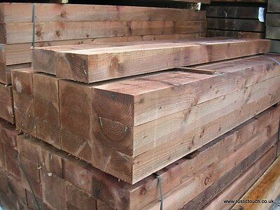 "New Pressure Treated Spruce Railway Sleepers 8ft x 10"" x 5"" (2.4m) - LANCASHIRE"