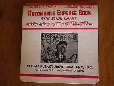 Automobile Expense Book with slide chart, Rex Manufacturing, vintage