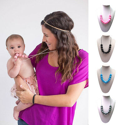 Baby Silicone Teething Nursing Breastfeeding Necklace chew Teether Jewelry Beads
