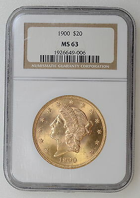 1900 P $20 Gold Liberty Double Eagle Ngc Ms63 Great Luster, No Spots - 93608-2