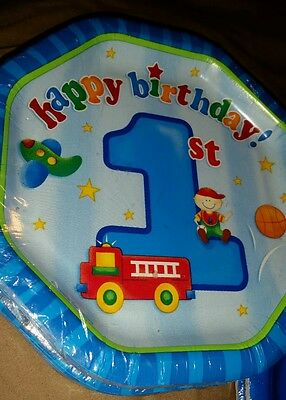 2 packs Blue Baby's First Birthday Paper Party Plates 8 pack,  7 3/4 inches