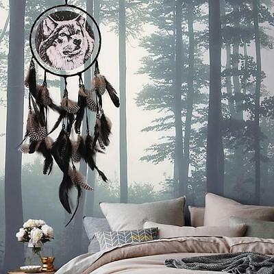Handmade Dream Catcher With Feathers Car Wall Hanging Decoration Ornament - Wolf