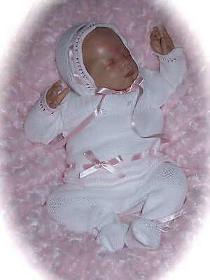 Bnwts-Spanish Baby Girls White/baby Pink Fine Knit 3Pce Outfit - Newborn Baby