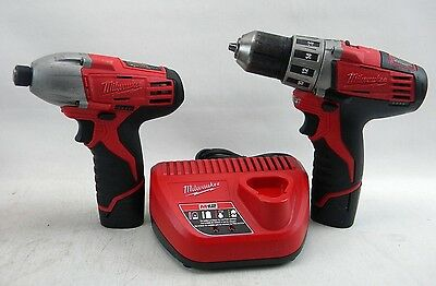 Milwaukee(2410-20)3/8Drill/Driver&(2450-20)Impact Driver w/Charger 2 BATTERY(B5)