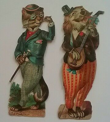 2 Superb Anthropomorphic Victorian Scraps. City Gent Cat.Banjo Playing Dog.