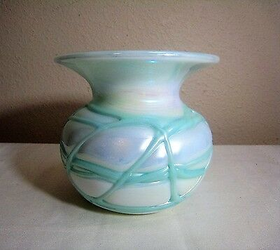 RARE VINTAGE SIGNED GIBSON Iridescent Threaded CARNIVAL GLASS VASE