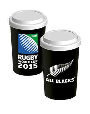 Rugby New Zealand Ceramic Travel Coffee Tea Mug World Cup 2015 with Silicone Lid