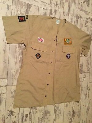 """Scouts Shirt. Official Scout Shops  15 1/2"""" Collar  Portsmouth With A Few Badges"""
