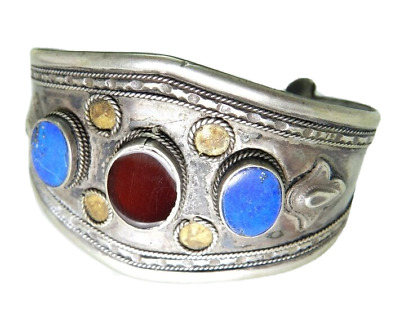 Indian Silver Cuff Bracelet with Stones