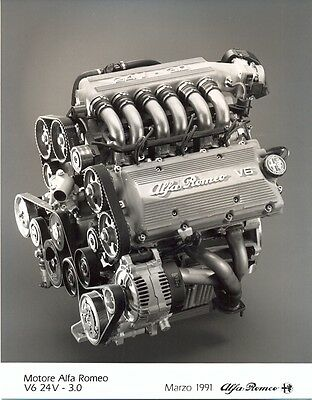 Alfa Romeo V6 24v 3 litre engine 1991 original press photo