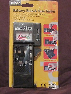Rolson Battery, Bulb and Fuse Tester - NEW / Sealed