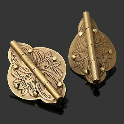 Chinese Style Brass Hardware Hinge Decorative Wooden Jewelry Box Retro One Pair