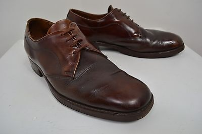 VINTAGE 1960's MEN'S ENGLISH MADE BROWN LACE UP SHOES SIZE 7