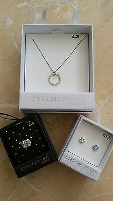 NEW Next Sterling Silver 925 Circle Necklace Ring Earrings Set Box RRP £47