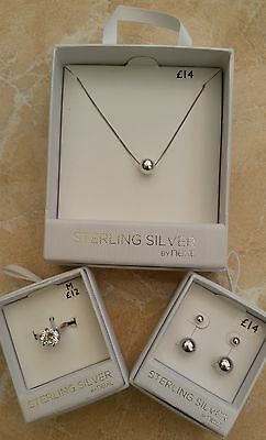 NEW Next Sterling Silver 925 Ball Necklace Ring Earrings Set Box RRP £40