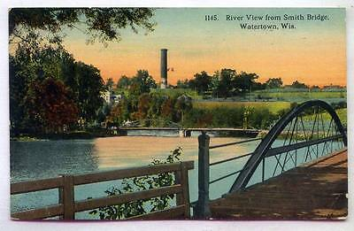 River View From Smith Bridge Watertown WISCONSIN *EARLY 1912*