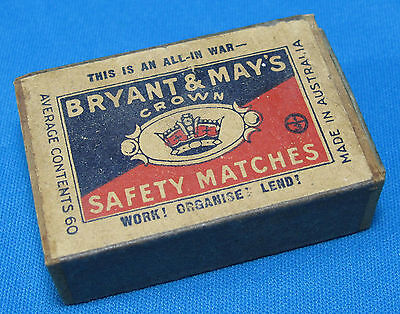 WWII Bryant and Mays Safety Matches All in War Advertisement Box Australia WW2