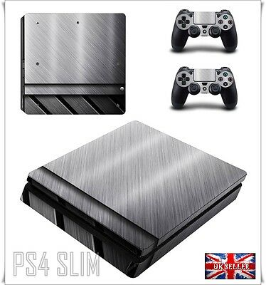 PS4 SLIM 3D Metal Aluminum PlayStation Skin Vinyl Sticker Decal Wrap Console