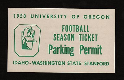 Old 1958 University of Oregon Ducks FOOTBALL **PARKING PERMIT** with Cool Duck!