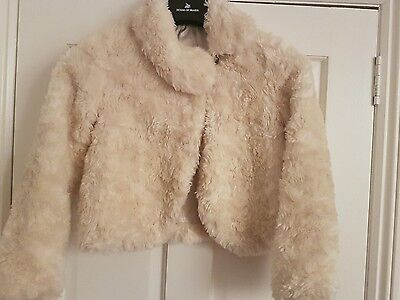 Girls Cream Soft Fur effect Jacket Age 9-10 years Marks & Spencers