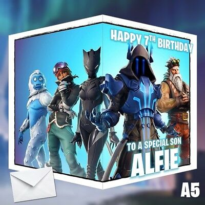 Fortnite Birthday Card Season 7 PERSONALISED Any NAME, AGE or RELATION 14x21