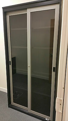 Tall Steel Smoked Glass Front Storage Cabinet for office or workshop