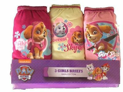 Paw Patrol Girls Knickers Briefs Pants Skye Everest Underwear 3 Pack 100% Cotton