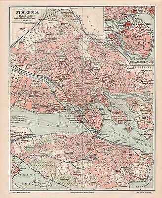 "Antique map""SWEDEN. CITY PLAN OF STOCKHOLM"". Circa 1905"