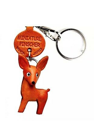 Miniature Pinscher Handmade 3D Leather Dog Keychain *VANCA* Made in Japan #56742