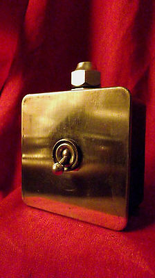 """Vintage Industrial Light Switch """"Crabtree"""" 1 One Gang Cast Iron Brass Plate"""