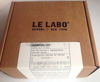 Le Labo Santal 33 Eau De Parfum 100ml Brand New Sealed December 2016